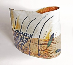 Cracks Vessel, handmade pottery, Derbyshire