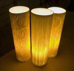 Porcelain lamps, handmade